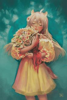 Фото Девушка с ушками держит в руках букет цветов, by Nekuro3