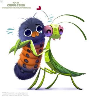 Фото Богомол обнимает гусеницу (Cuddlebug), by Cryptid-Creations