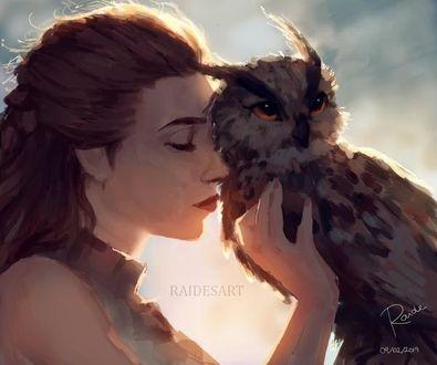 Фото Девушка с совой, by RaidesArt