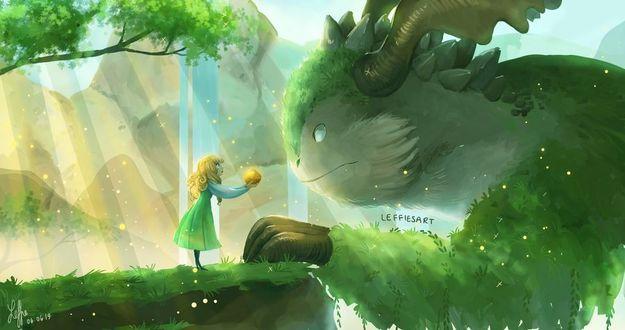 Фото Девочка протягивает фрукт лесному дракону, by LeffiesArt