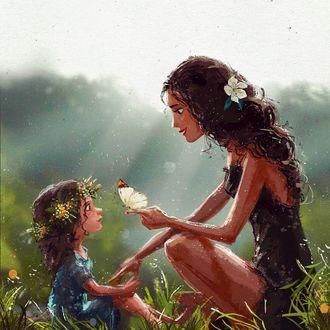 Фото Девушка с бабочкой на пальце руки сидит перед маленькой девочкой в венке, by eve_farb