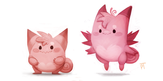 Фото Clefairy / Клефэйри и Clefable / Клефэйбл из аниме Pokemon / Покемон, by Cryptid-Creations