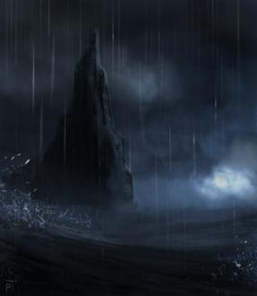 Фото Одинокая скола под дождем в море, by Cryptid-Creations
