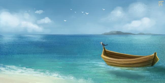 Фото Одинокая лодка с чайкой на море, by Cryptid-Creations