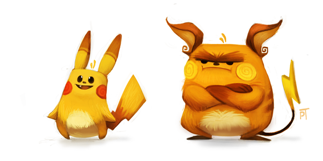 Фото Pikachu / Пикачу и Raichu / Райчу из аниме Pokemon / Покемон, by Cryptid-Creations