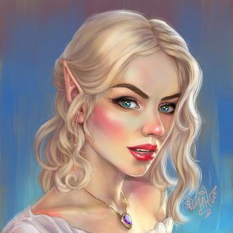 Фото Девушка - эльфийка с голубыми глазами, by HelviKertia