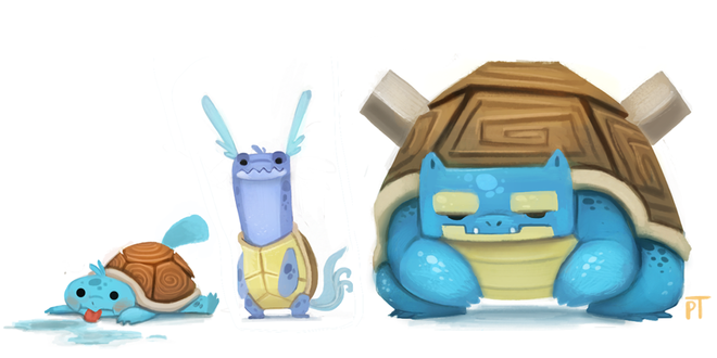 Фото Squirtle / Сквиртл, Wartortle / Вартортл, Blastoise / Бластойз из аниме Pokemon / Покемон, by Cryptid-Creations