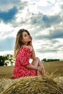 Фото Модель Ананда Дубовская в красном платье сидит на валуне сена, фотограф Дмитрий Медведь