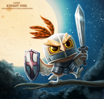 Фото Совенок рыцарь на ветке (Knight Owl), by Cryptid-Creations