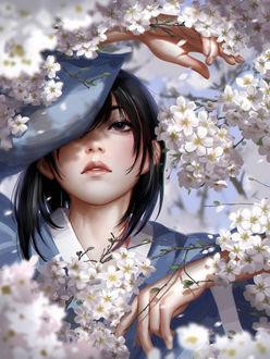 Фото Девушка за весенними цветущими ветками, by Liang-Xing