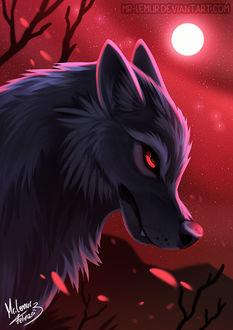 Фото Волк на фоне неба с луной, by Mr-Lemur