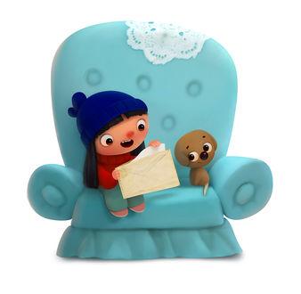 Фото Песик Дойф - Волшебный Хвост с девочкой сидят в кресле, by Andrey Gordeev