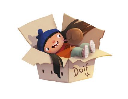 Фото Песик Дойф - Волшебный Хвост и девочка лежат в коробке, by Andrey Gordeev