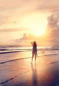 Фото Девушка гуляет с собакой на морском берегу, by PascalCampion