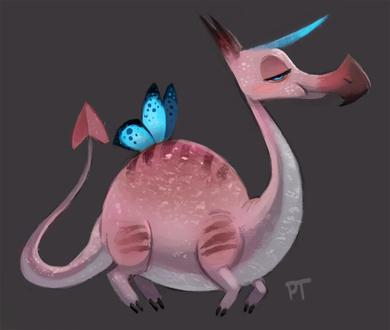 Фото Розовый дракон с крыльями бабочки и рогом, by Cryptid-Creations