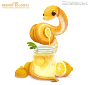 Фото Желтая змея с лимонами над банком (Freshly Squeezed), by Cryptid-Creations