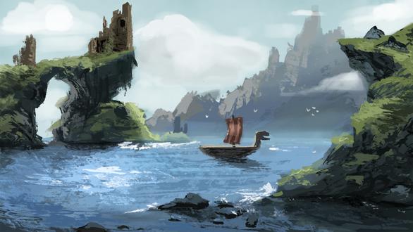 Фото Корабль на воде среди природы, by Cryptid-Creations