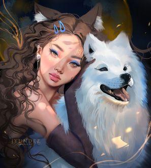 Фото Девушка с собакой-лайкой, by Jyundee