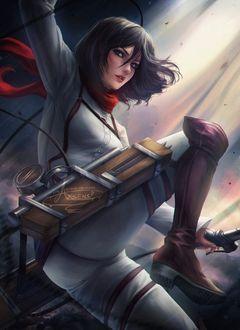 Фото Mikasa Ackerman / Микаса Аккерман из аниме Shingeki no Kyojin / Атака Титанов, art by Axsens