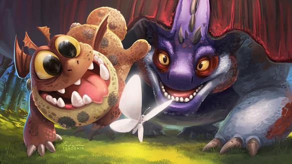 Фото Два дракона из мультфильма How to Train Your Dragon / Как приручить дракона охотятся за бабочкой, by TsaoShin