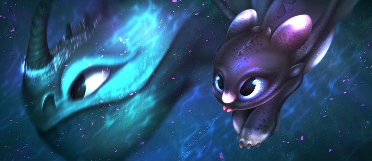 Фото Night Fury (Toothless) / Ночная Фурия (Беззубик) из мультфильма How to Train Your Dragon / Как приручить дракона плавает под водой с морским драконом, by Petrinox
