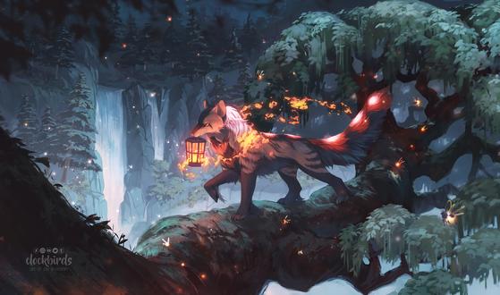 Фото Волк со светящимся фонарем в лесу, by clockbirds