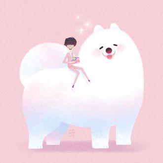 Фото Парень сидит на собаке, by Little Oil