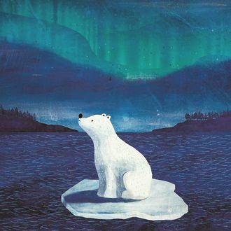 Фото Белый медвель сидит на льдине, by carmensaldana_illustration