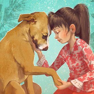 Фото Девочка и ее пес, by Kayla Harren Illustrator