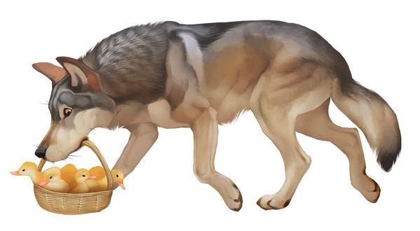 Фото Волк несет корзинку с утятами в пасти, by Jessica Gibson