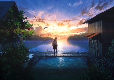 Фото Девушка стоит наа мостике над водой