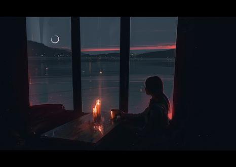 Фото Девушка сидит у окна, за столиком, на котором стоят свечи, художник Alena Aenami