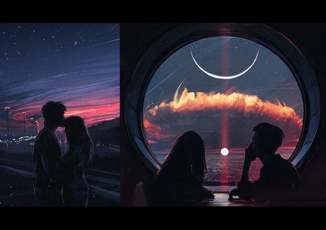 Фото Влюбленные сидят у окна и влюбленные целуются, by Alena Aenami