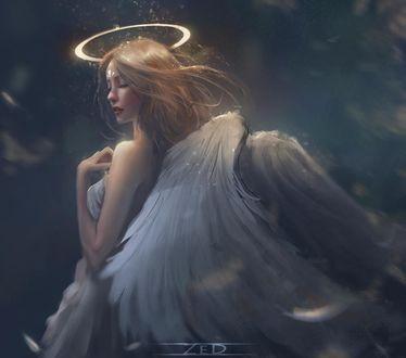 Фото Девушка-ангел с закрытыми глазами, by trungbui42