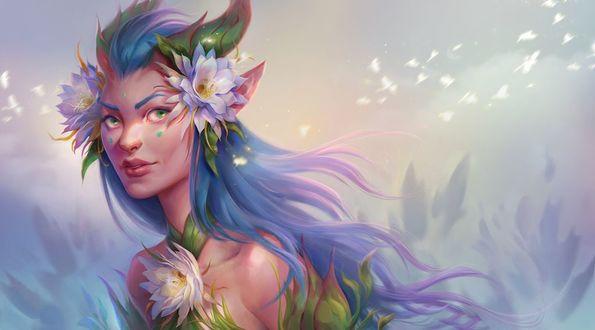 Фото Девушка - эльфийка с цветами, by Uruno-Morlith