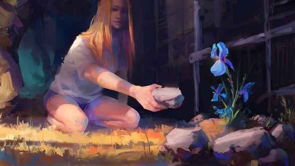 Фото Девушка ложит камень у цветка, by Pegaite