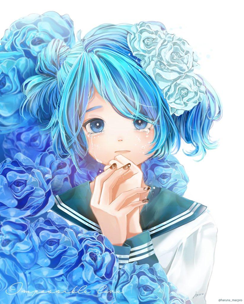 Фото Девочка в голубых розах