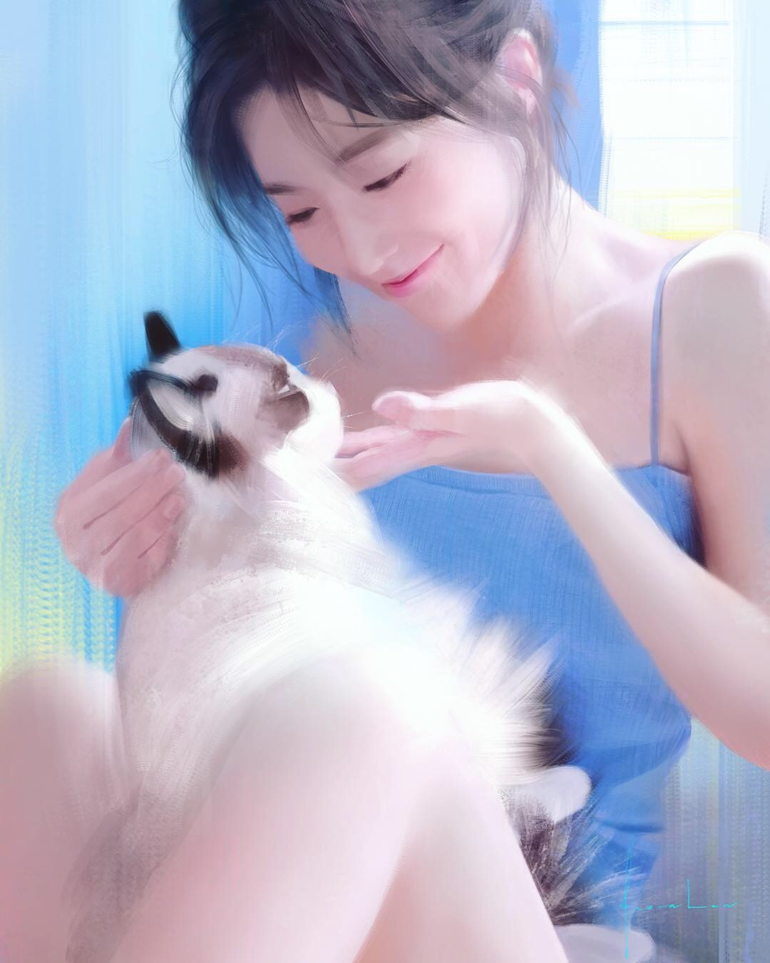Фото Девушка с кошкой, by Jason Lan