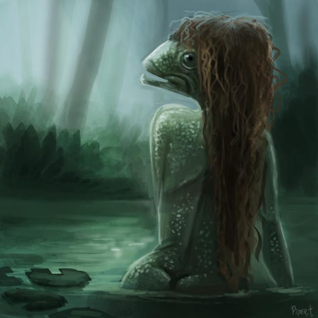 Фото Чудик с рыжими волосами в воде, by Cryptid-Creations