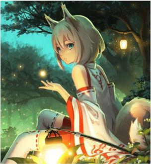 Фото Голубоглазая жрица Fox girl сидит ночью в лесу с фонарем в окружении огоньков и мотыльков