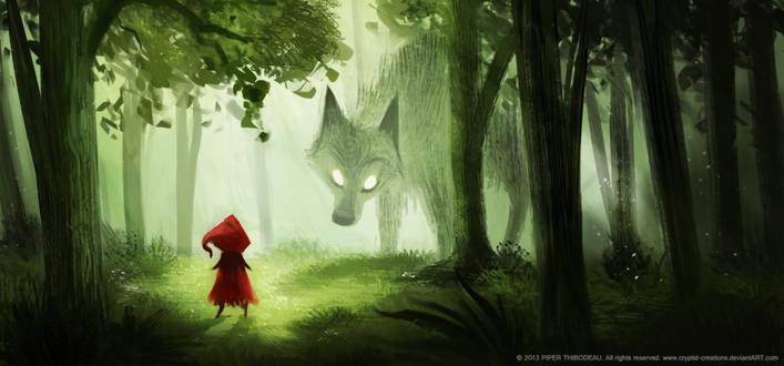 Фото Красная шапочка и волк в лесу, by Cryptid-Creations