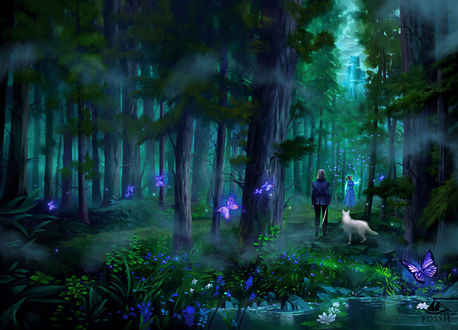 Фото Девушка, мужчина и белый волк в лесу, BY Nele-Diel