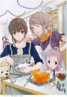 Фото Девочки готовят торт ко дню рождения подруги, рядим пес, by Haruaki Fuyuno