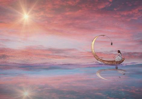 Фото Девушка в лодке с фонарем. Фотограф Sergii Vidov