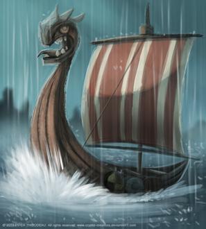 Фото Лодка викингов в воде под дождем, by Cryptid-Creations
