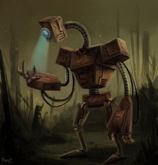 Фото Робот смотрит на человека, by Cryptid-Creations