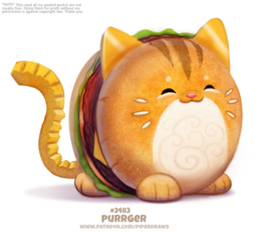 Фото Кот-гамбургер на белом фоне (Purrger), by Cryptid-Creations