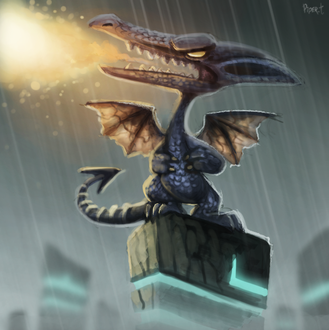 Фото Огнедышащий дракон под дождем, by Cryptid-Creations