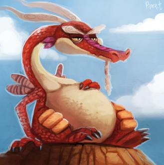 Фото Красный дракон на фоне неба, by Cryptid-Creations