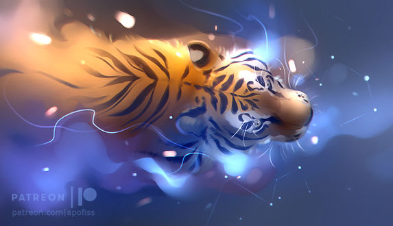 Фото Тигр в воде с созвездиями, by Apofiss